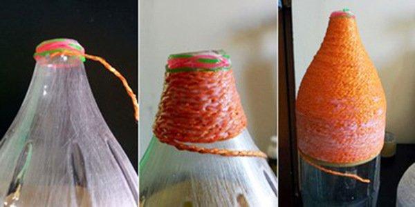 đèn treo trần nhà từ chai nhựa cũ