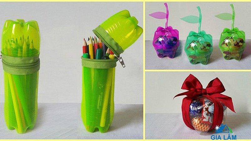 tái chế chai nhựa làm đồ dùng học tập