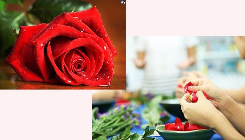 công đoạn lặt hoa hồng